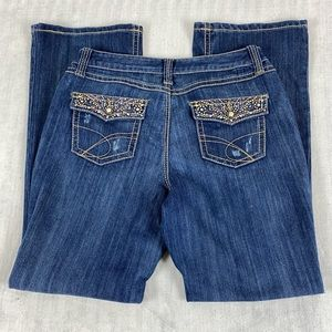 INC International Concepts Curvy Fit Boot Cut Jeans Sz 12 Striated Blue Mid Rise